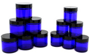 Combination 12 Pack of Cobalt Blue 30ml & 60ml Glass Straight Sided Jars, Lids Included; Empty Refillable Containers for Cosmetics, Creams, Lotions, Essential Oils