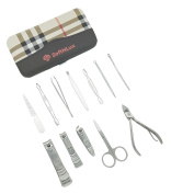 SoftNLux® [12-in-1] Stainless Steel Nail Care Kit Set + Carrying Case | 12 Durable Personal Manicure & Pedicure Tools Organised in a Trendy Case