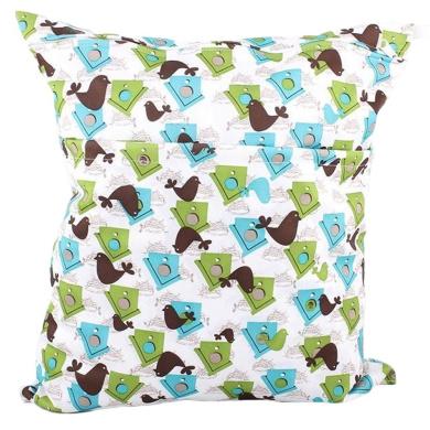 Waterproof Double Zipper Wet Dry Reusable Nappy Bag (Birdhouses)