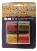 Beadsmith S-Lon Bead Cord, Size 18, Spice Colour Mix, 4 Colours 77 yards each