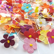 90 Pcs Mixed Colour Mulberry Paper Flower Blossom DIY Crafts 15-18mm
