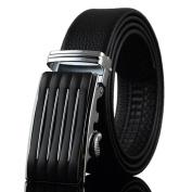 Boshiho Fashion Men's Genuine Leather Ratchet Belt Automatic Buckle - One Size Adjustable Belt