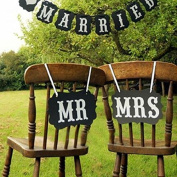 Mr Mrs And Just Married Black Garland Banner Photo Booth Pros Wedding Party Favour Decorations And Chair Signs
