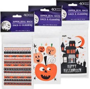 40 Halloween Zip-Seal Loot Bags 1 packs of 40 bags random design).