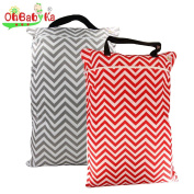 2PCS Large Wet Dry Hanging Pail Bag for Baby Cloth Nappy or Laundry , Grey Red Wave