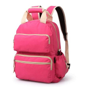 Beautylady Lightweight Polyester Baby Nappy Bag Smart Organiser Travel Nappy Backpack Multifunctional Crossbody Bag Pink