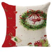 Pillow Cases,Dirance(TM) Home Decor Christmas Linen Square Throw Flax Decorative Cushion Pillow Cover