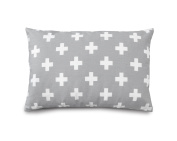 Olli & Lime Cross Pillow, Grey/White