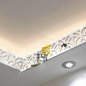 10PCS Mirror Wall Stickers Home Ceiling Waist Line Decal Wall Decor Art Mural-Silver