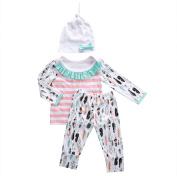 Baby Girls 3pcs Long Sleeve T-shirt and Pants Outfit with Hat