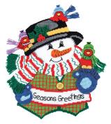 Seasons Greetings Snowman Plastic Canvas Kit