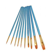 New Heartybay 10Pieces Round Pointed Tip Nylon Hair Brush Set, Blue Most Seached