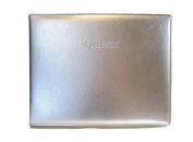 """Padded Italian Leather Guest Book with """"Guests"""" Embossed on Cover - Silver"""