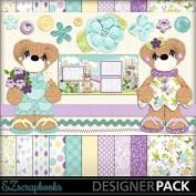Violet Bear - Digital Scrapbook Kit on CD