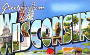Wisconsin Greetings Reproduction Luggage Decal 7.6cm x 13cm