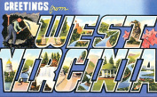 West Virginia Greetings Reproduction Luggage Decal 7.6cm x 13cm
