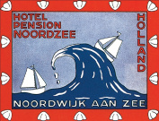 Hotel Pension Noordzee Holland Reproduction Luggage Decal 7.6cm x 13cm