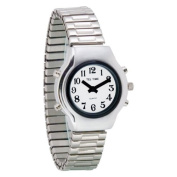 Tel-Time Ladies Chrome Talking Watch - White Face, Expansion Band