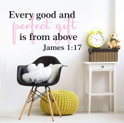 Every Good and Perfect Gift is From Above James 1:17 Biblical Scripture Quote Wall Decals For Baby Girls 100cm W by 50cm H, Nursery Quote For Baby Girl, Baby Girl Quotes Decals, PLUS FREE WHITE HELLO DOOR DECAL