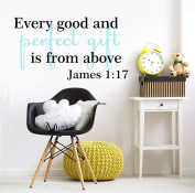 Every Good and Perfect Gift is From Above James 1:17 Biblical Scripture Quote Wall Decals For Baby Boys 100cm W by 50cm H, Nursery Quote For Baby Boy, Baby Boy Quotes Decals, PLUS FREE WHITE HELLO DOOR DECAL