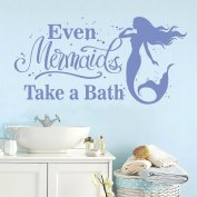 Even Mermaids Take Baths, Children's Bathroom Quotes Wall Decals 90cm W by 46cm H, Mermaid Wall Decals, Bathing Wall Decals For Children, Kid's Bathing Quotes, PLUS FREE WHITE HELLO DOOR DECAL