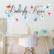Butterfly Kisses Printed Butterflies Vinyl Wall Decals and Quotes MEDIUM, Children's Room Wall Quotes, Girl's Nursery Wall Decal Quotes, Butterflies Wall Decals, PLUS FREE WHITE HELLO DOOR DECAL