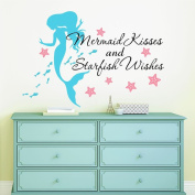 Mermaid Kisses & Starfish Wishes Quote Vinyl Wall Decals, FREE 30cm NAME DECAL, 70cm W by 50cm H, Mermaid Kisses & Starfish Wishes Quotes, Mermaid Decals, Mermaids Decals, Girls Wall Decals