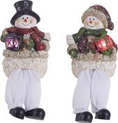 Resin Light Up Poinsettia Snowmen Shelf Sitter - 2 Asst