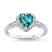 Halo Heart Promise Ring Simulated Zircon Pave Round Cubic Zirconia 925 Sterling Silver
