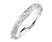 G & H Sterling Silver Hinged Bangle Bracelet with Diamond Cut Deco Finish