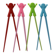 Baby Children Beginner Learning Traning Helper Chopsticks Right Handed with Smiling Doll