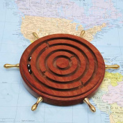 Handmade Wooden Nautical Ships's Wheel Design Labyrinth Maze Puzzle Game Kids Nautical Board Game
