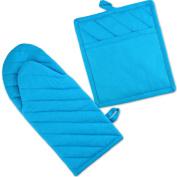 DII 100% Cotton, Machine Washable, Everyday Kitchen Basic, Oven Mitt and Pot Holder Gift Set, Neon Blue