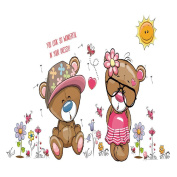 Winhappyhome Cute Baby Bears Wall Art Stickers for Bedroom Living Room Nursery Background Removable Decor Decals A