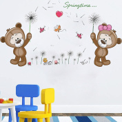 Winhappyhome Cute Baby Bears Wall Art Stickers for Bedroom Living Room Nursery Background Removable Decor Decals B