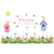 Winhappyhome Birdhouse Flower Grasses Baseboard Skirting Wall Stickers for Bedroom Living Room Background Removable Decor Decals