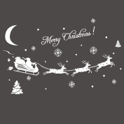 Merry Christmas Reindeer Snow Window Wall Stickers Wall Decals for Xmas Party Decorations