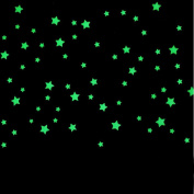 100pcs Kids Bedroom Fluorescent Glow In The Dark Stars Wall Art Stickers DIY Wall Decal Light Green Luminous Wall Sticker Murals For Living Room Teens Children Baby Room Nursery Decoration