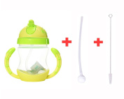 240ml Water and Drinks Bottle Durable Handle Straw Bottle with Replacment Silicone Straw and Pipe Cleaning Brushes