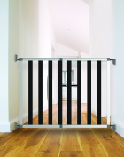 Noma 31250 °C Urban/Noir, Wood and Aluminium Expandable Gate, Wall Mount, Adjustable Width from 62 - 104 cm