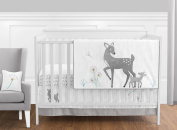 Grey Gold and White Forest Deer and Dandelion Girl or Boy Baby Bedding 11 Piece Crib Set Without Bumper