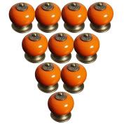 Lsgoodcare Orange 38MM 10PCS Europe Vintage Pumpkin Style Ceramic Door Knobs Drawer Pull Handle Cabinet Cupboard Wardrobe Baby Kid's Children's Furniture