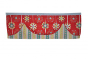 DK Leigh Red Graphic Floral Window Valence / Curtain Red/Teal/Blue