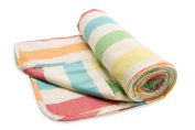 Henry and Brothers Large Double-layer Toddler Blanket, Relaxed Rainbow Stripe