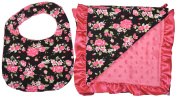 Unique Baby Soft Textured Minky Dot Blanket and Bib Gift Set with Satin Edge, Vintage Floral Print Black