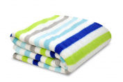 Little Starter Plush Toddler Blanket, Blue Stripe