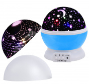 MOKOQI Baby Night Light Lamps For Bedroom Romantic 360 Degree Rotating Star with Sky Moon Cover +Cosmos Cover Projector Lights Colour Changing LED For Kids Girls Baby Nursery Gift