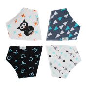 Emma + Evan Baby Bandana Drool Bibs with Adjustable Snaps, Trendy 4-Pack Super Absorbent Cotton with Bonus Gift Bag, Unisex for Boys and Girls