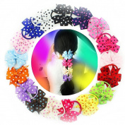 18 Pcs 8.9cm Girls Gift Hair Accessories Pinwheel Polka Dot Hair Bows Rubber Elastic Band Tie Ponytail Holders