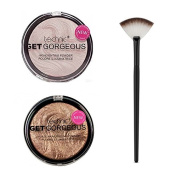 Technic Get Gorgeous Highlighting Powder 12g + Technic Get Gorgeous Bronze Highlighting Powder 12g + LyDia® Small Black/White Fan Cheek/Blending/Contour/Highlighter/Bronzer/Dust Makeup Brush